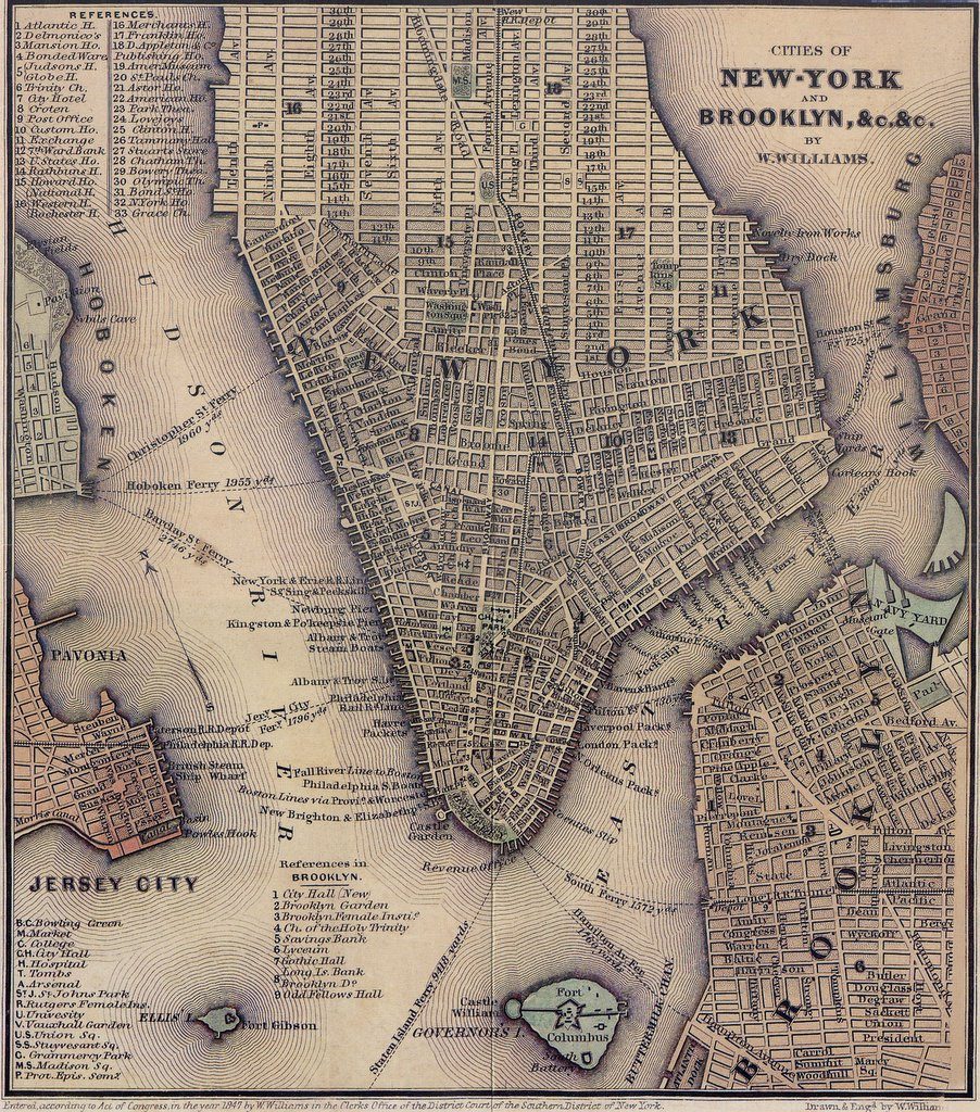 1847 Lower Manhattan map